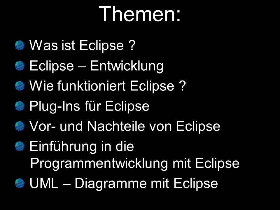 Themen: Was ist Eclipse Eclipse – Entwicklung