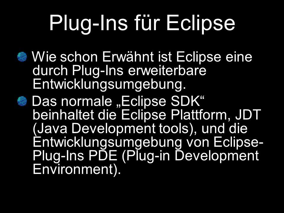 Plug-Ins für EclipseWie schon Erwähnt ist Eclipse eine -durch Plug-Ins erweiterbare -Entwicklungsumgebung.