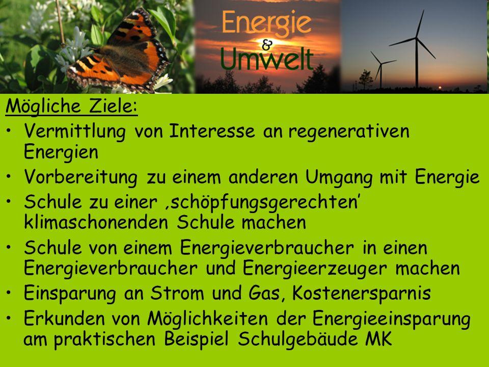 Mögliche Ziele: Vermittlung von Interesse an regenerativen Energien. Vorbereitung zu einem anderen Umgang mit Energie.
