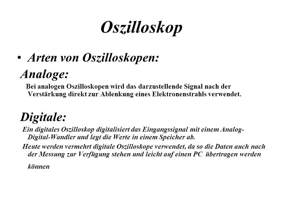 Oszilloskop Arten von Oszilloskopen: Analoge: Digitale: