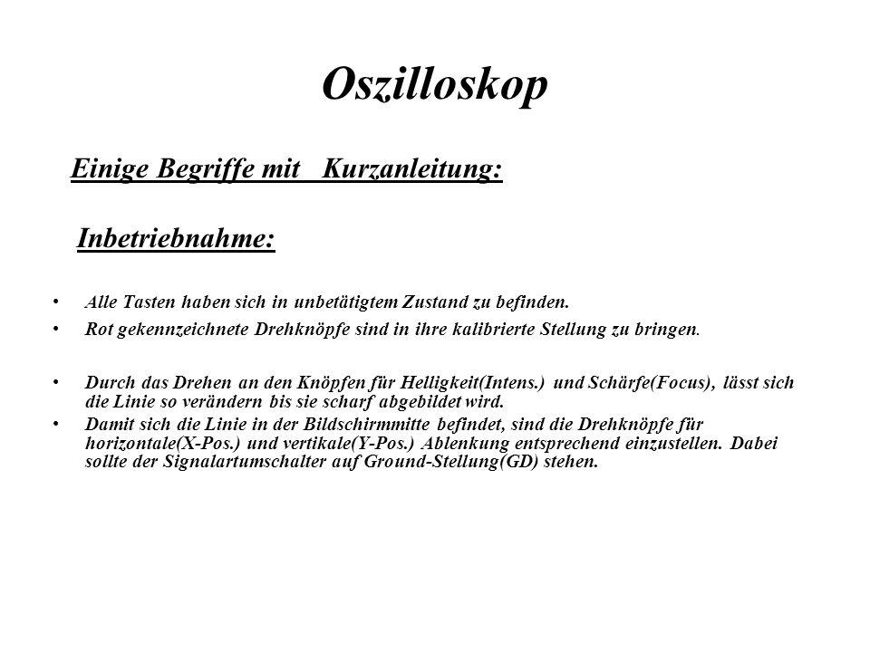 Oszilloskop Einige Begriffe mit Kurzanleitung: Inbetriebnahme: