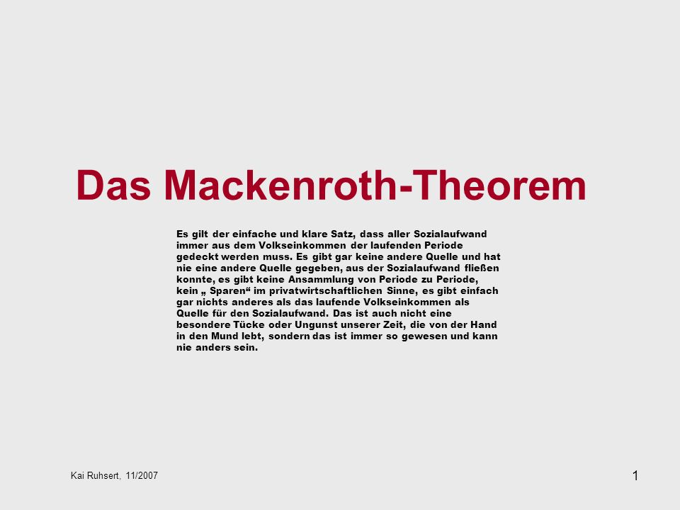 Das Mackenroth-Theorem