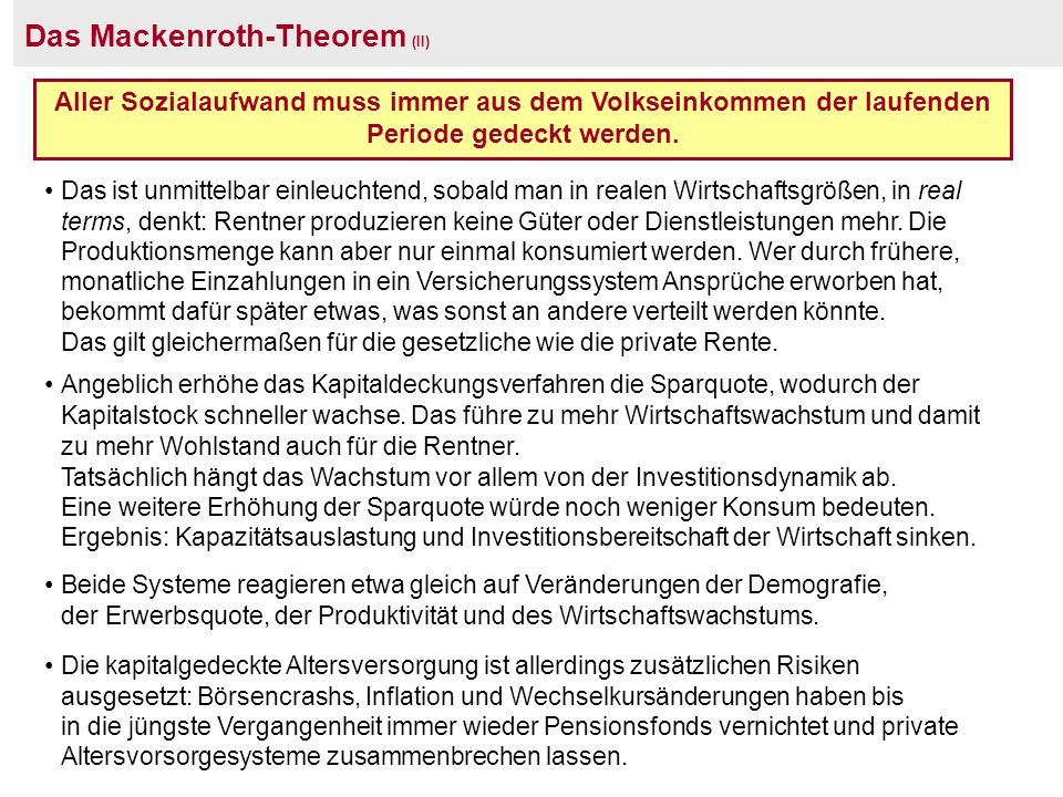 Das Mackenroth-Theorem (II)