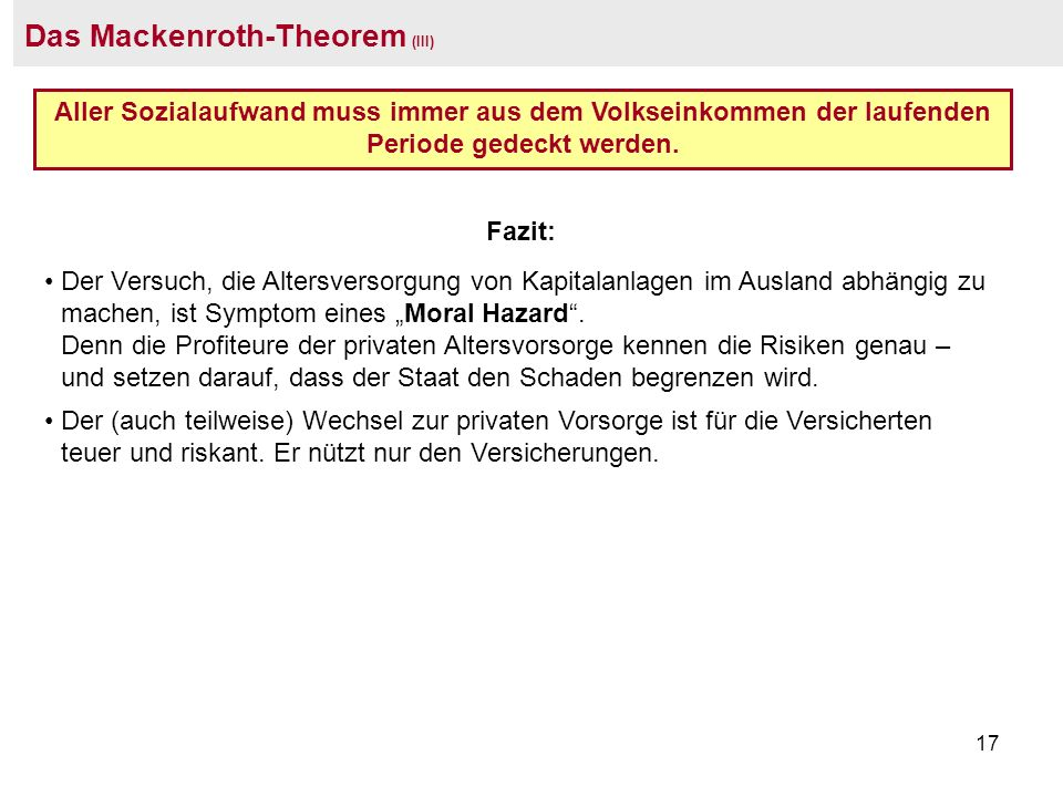 Das Mackenroth-Theorem (III)