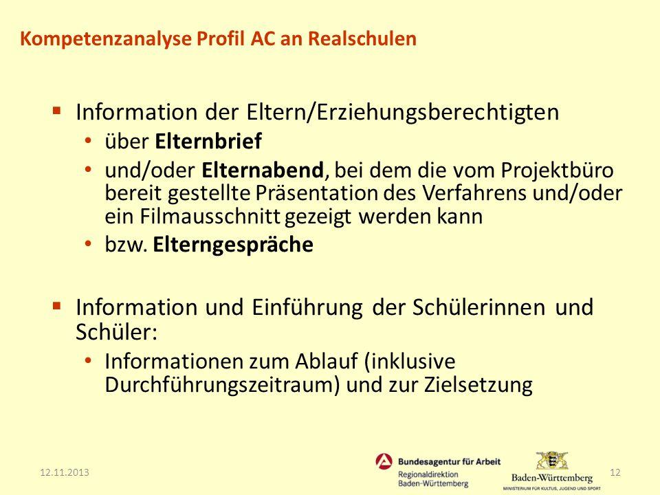 Information der Eltern/Erziehungsberechtigten