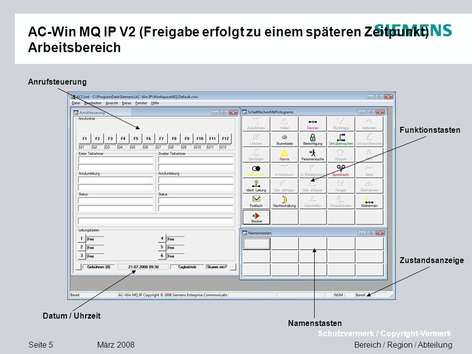 AC-Win MQ IP V2 (Freigabe erfolgt zu einem späteren Zeitpunkt) Arbeitsbereich