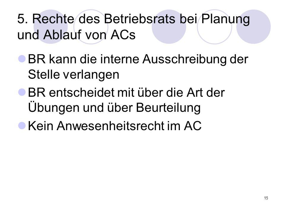 5. Rechte des Betriebsrats bei Planung und Ablauf von ACs