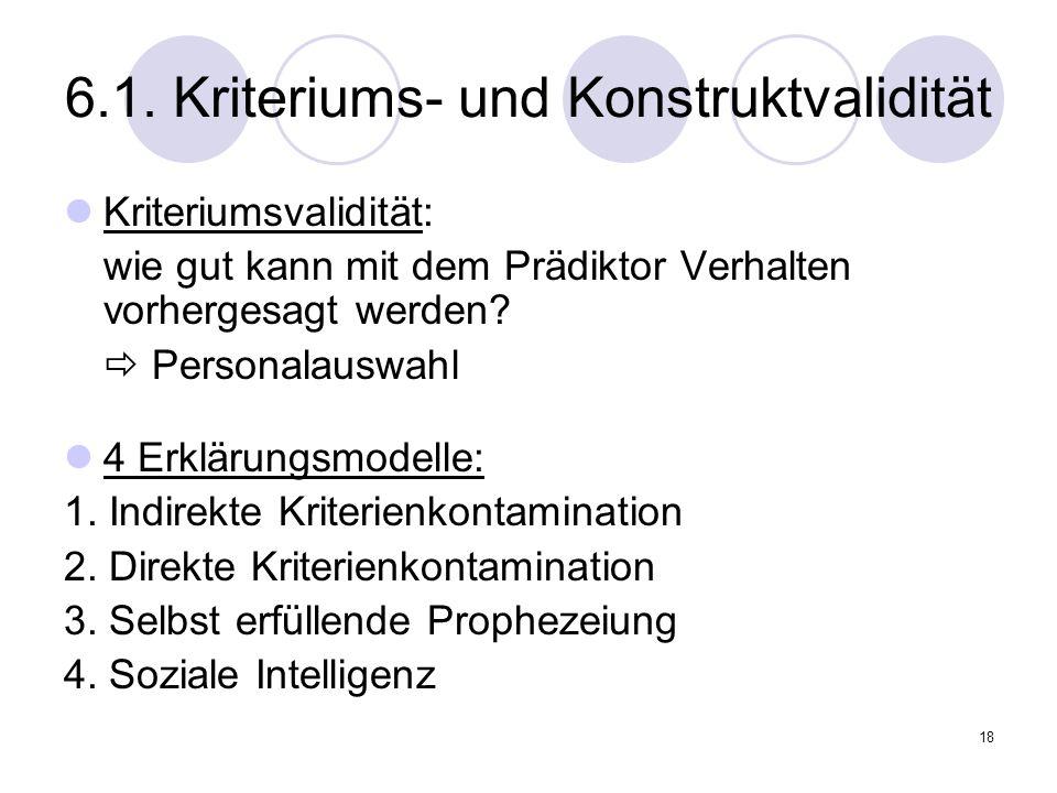 6.1. Kriteriums- und Konstruktvalidität