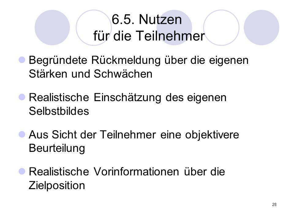 6.5. Nutzen für die Teilnehmer