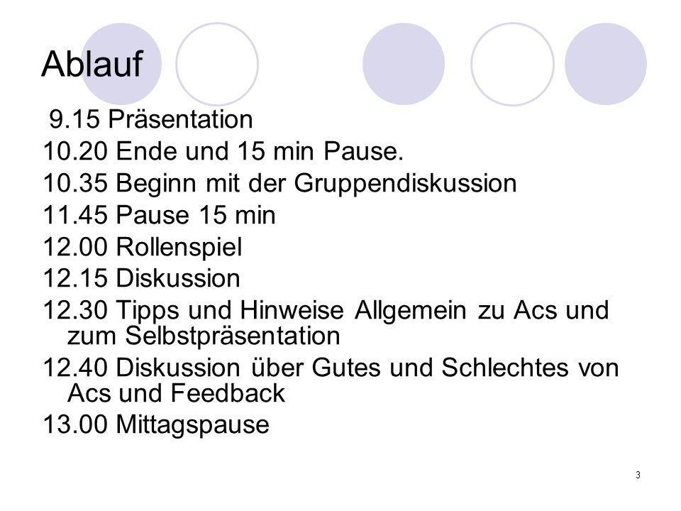 Ablauf 9.15 Präsentation 10.20 Ende und 15 min Pause.