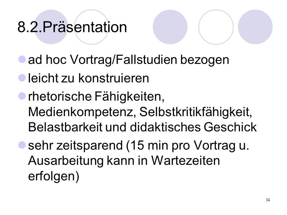 8.2.Präsentation ad hoc Vortrag/Fallstudien bezogen