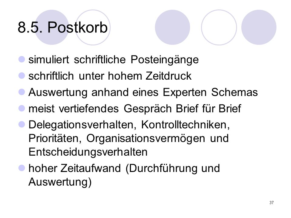 8.5. Postkorb simuliert schriftliche Posteingänge