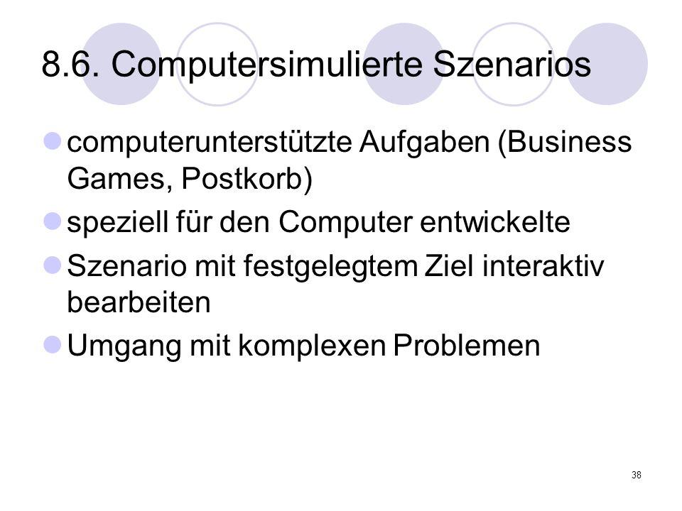 8.6. Computersimulierte Szenarios