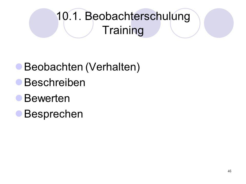 10.1. Beobachterschulung Training