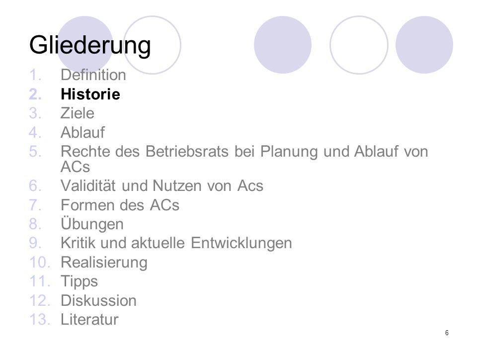Gliederung Definition Historie Ziele Ablauf