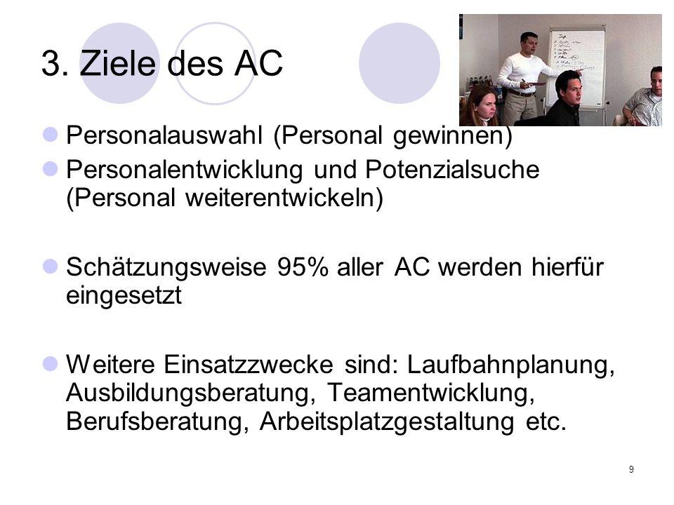 3. Ziele des AC Personalauswahl (Personal gewinnen)