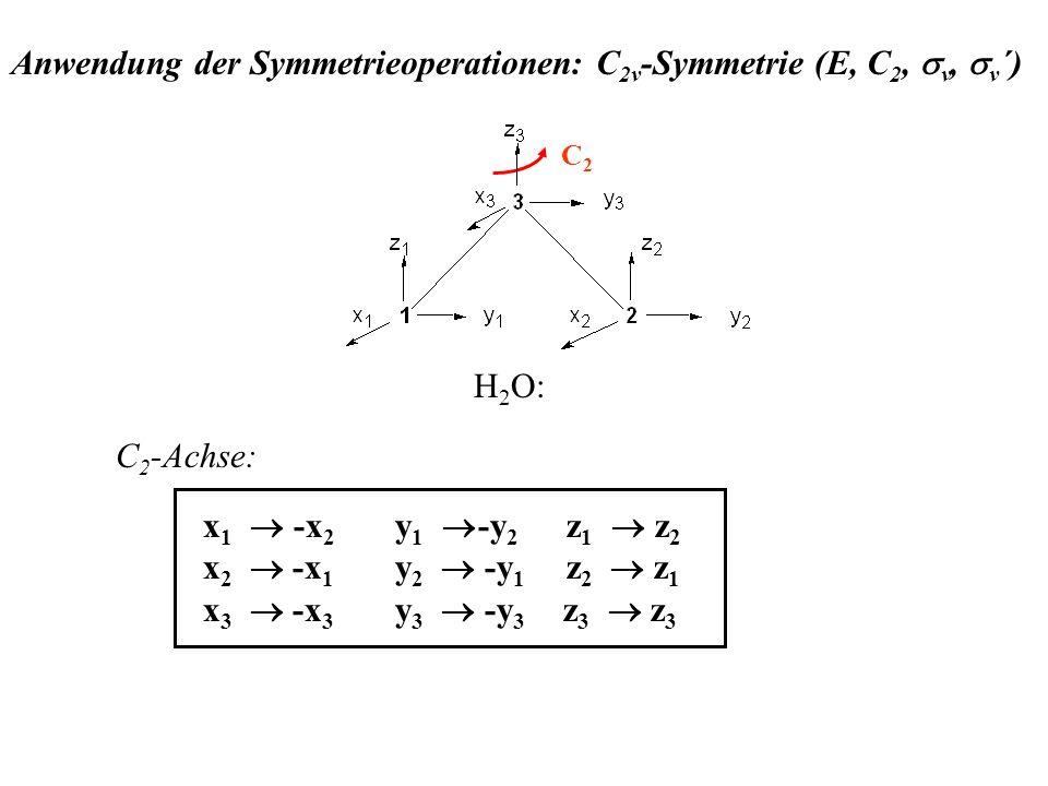 Anwendung der Symmetrieoperationen: C2v-Symmetrie (E, C2, sv, sv´)