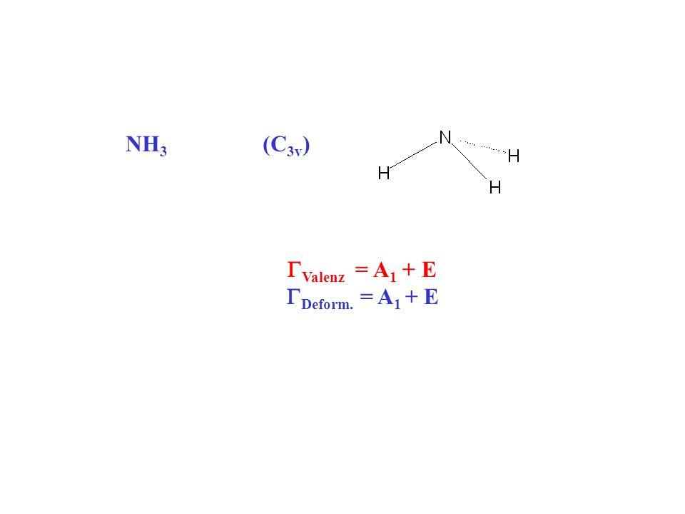 NH3 (C3v) GValenz = A1 + E GDeform. = A1 + E