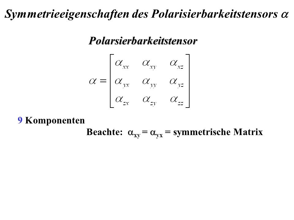 Symmetrieeigenschaften des Polarisierbarkeitstensors a
