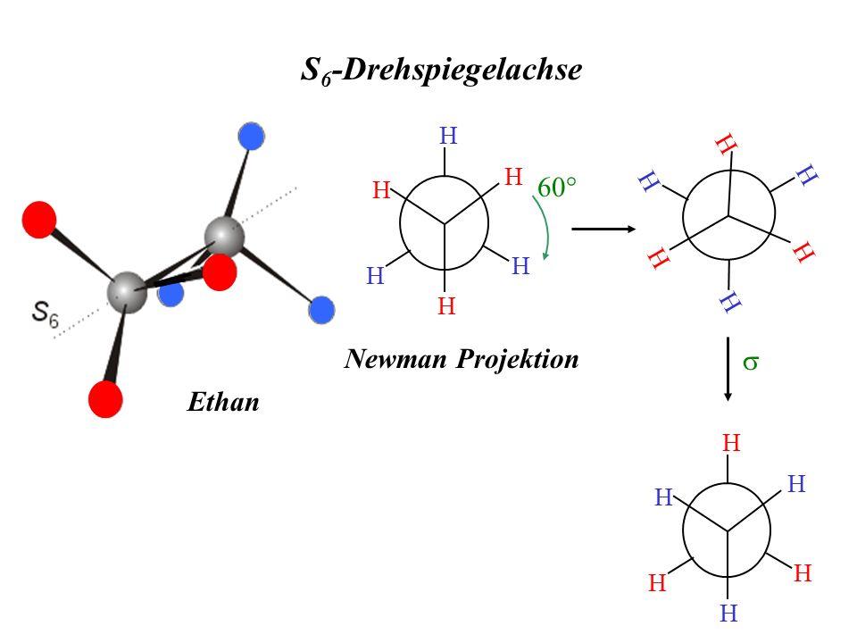 S6-Drehspiegelachse H Newman Projektion H 60° s H Ethan