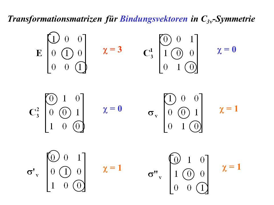 Transformationsmatrizen für Bindungsvektoren in C3v-Symmetrie