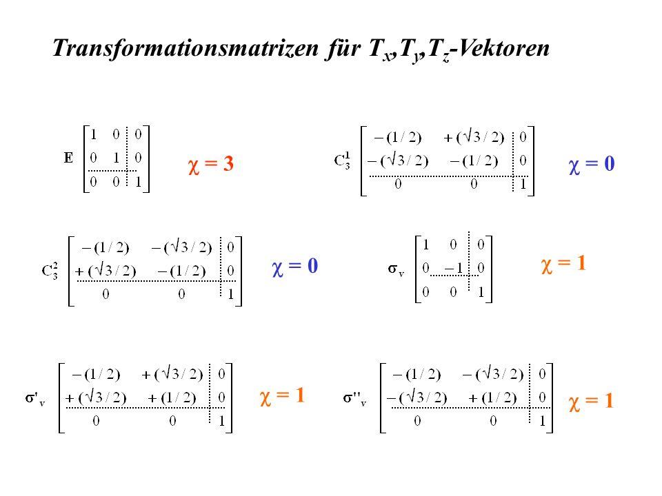 Transformationsmatrizen für Tx,Ty,Tz-Vektoren