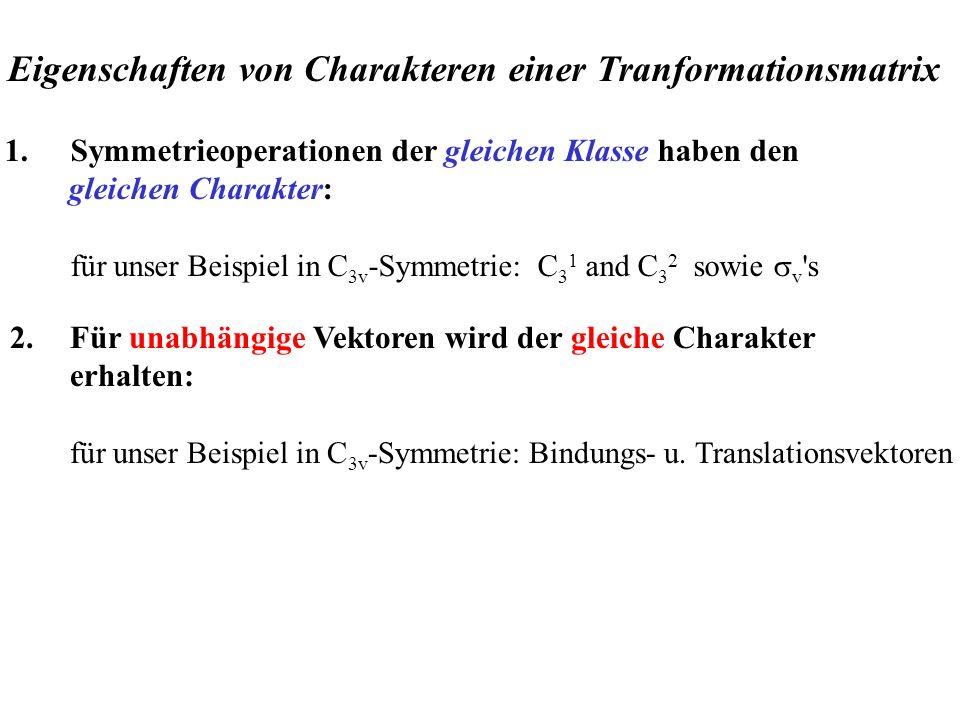 Eigenschaften von Charakteren einer Tranformationsmatrix