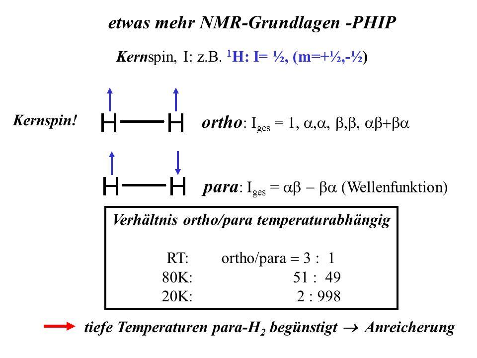 Verhältnis ortho/para temperaturabhängig