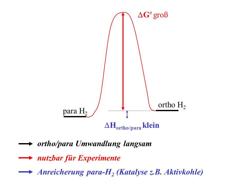 DG# groß ortho H2. para H2. DHortho/para klein. ortho/para Umwandlung langsam. nutzbar für Experimente.
