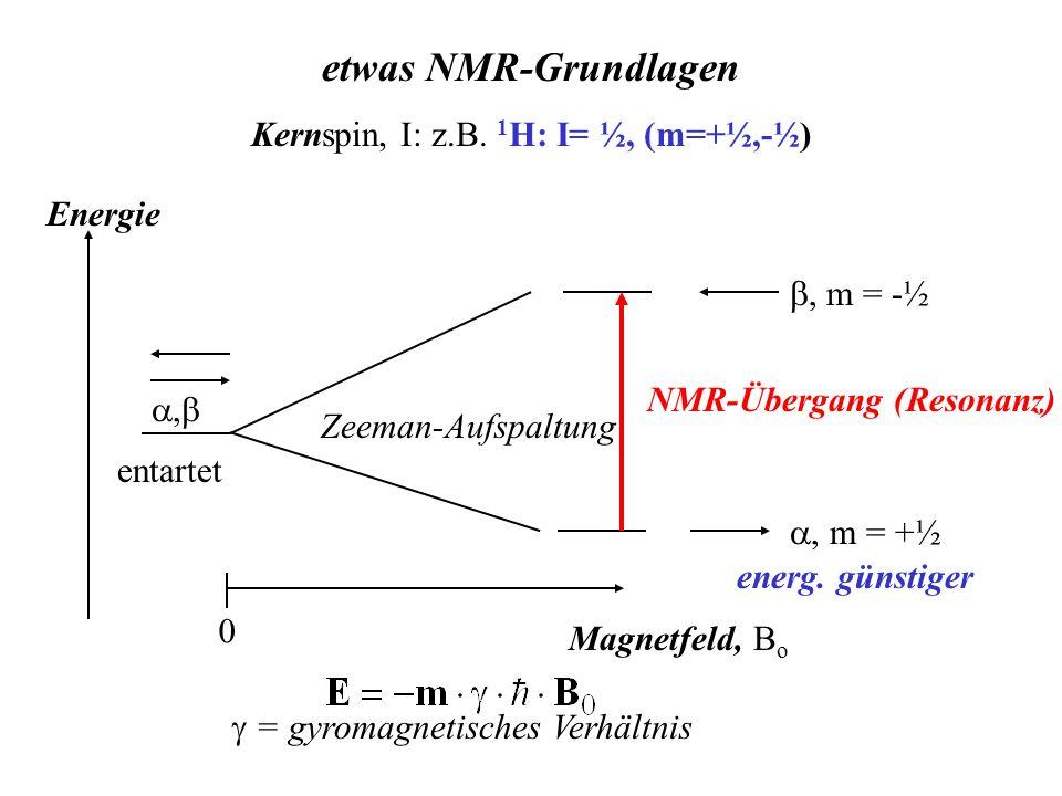etwas NMR-Grundlagen Kernspin, I: z.B. 1H: I= ½, (m=+½,-½) Energie
