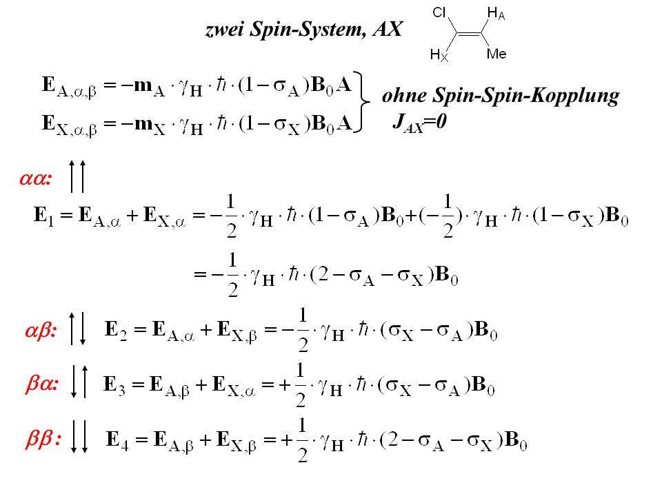 zwei Spin-System, AX ohne Spin-Spin-Kopplung JAX=0 aa: ab: ba: bb :