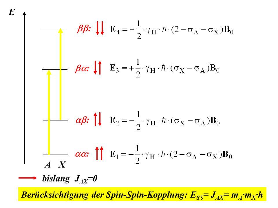 E bb: X ba: A ab: aa: bislang JAX=0 Berücksichtigung der Spin-Spin-Kopplung: ESS= JAX= mA·mX·h