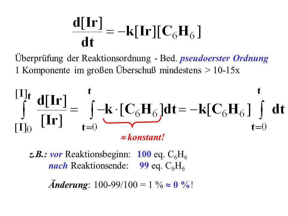 Überprüfung der Reaktionsordnung - Bed. pseudoerster Ordnung