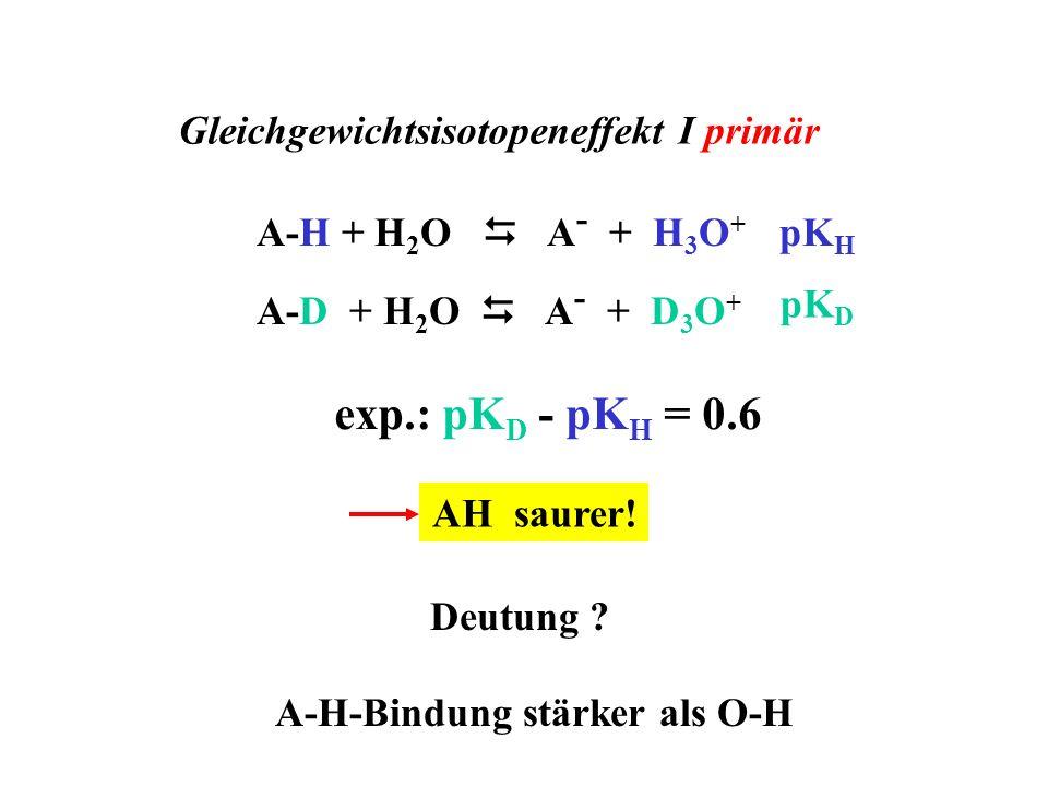 Gleichgewichtsisotopeneffekt I primär A-H-Bindung stärker als O-H