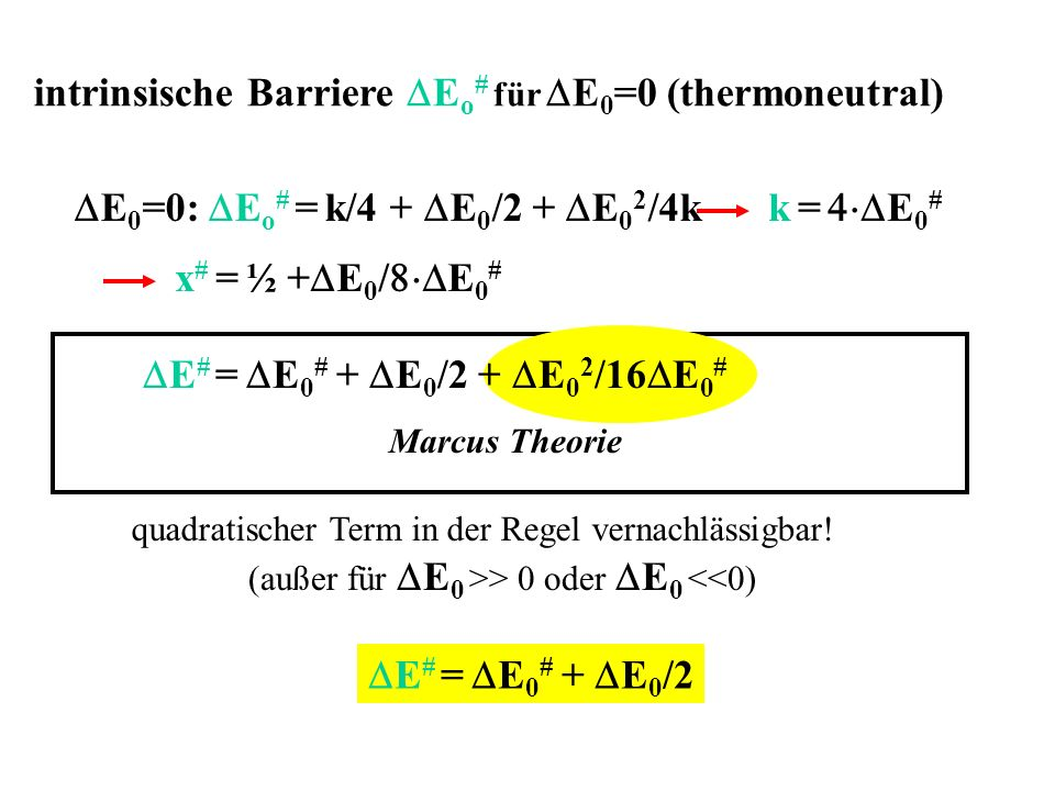intrinsische Barriere DEo# für DE0=0 (thermoneutral)
