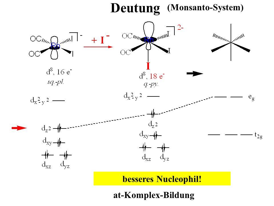 Deutung (Monsanto-System) at-Komplex-Bildung besseres Nucleophil!