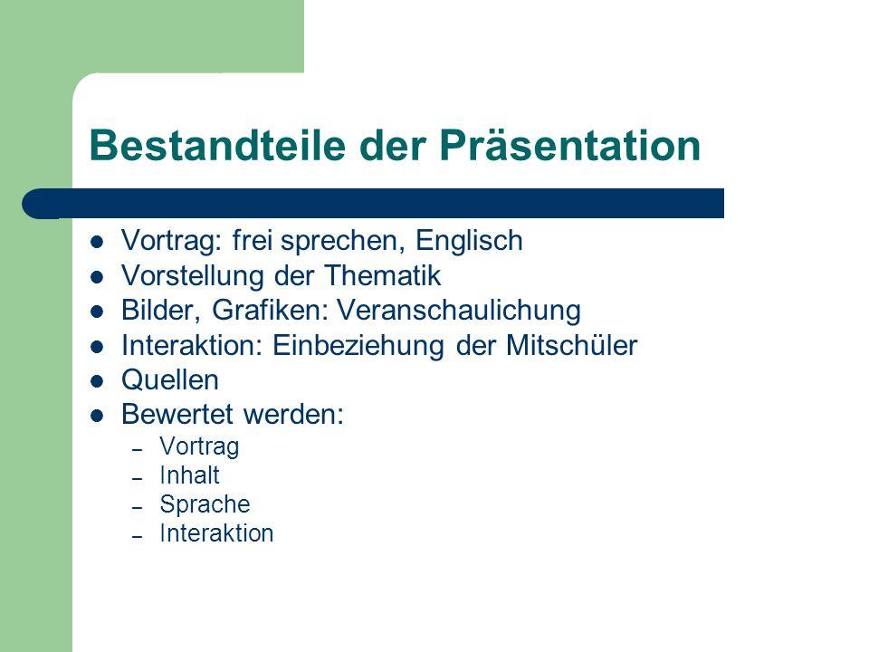 Bestandteile der Präsentation