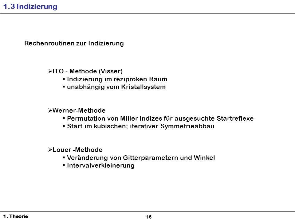 1.3 Indizierung Rechenroutinen zur Indizierung ITO - Methode (Visser)