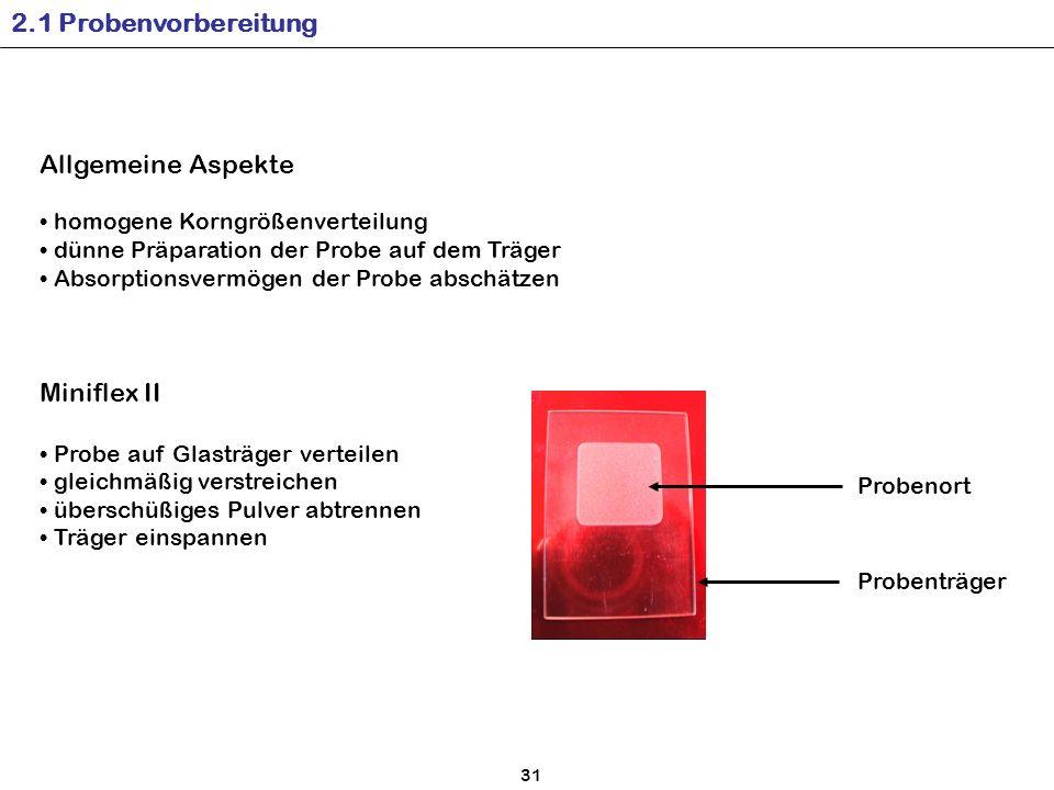 2.1 Probenvorbereitung Allgemeine Aspekte Miniflex II