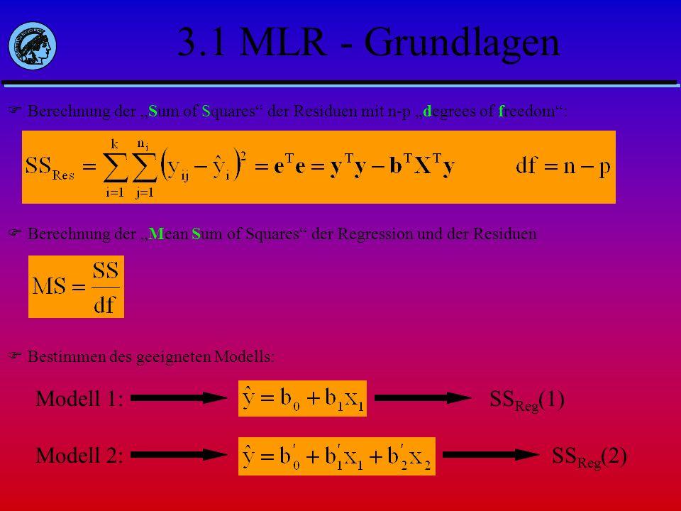 3.1 MLR - Grundlagen Modell 1: SSReg(1) Modell 2: SSReg(2)