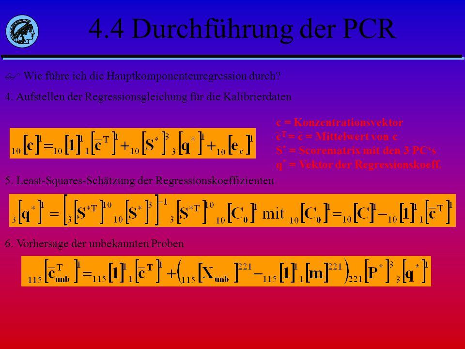 4.4 Durchführung der PCR Wie führe ich die Hauptkomponentenregression durch 4. Aufstellen der Regressionsgleichung für die Kalibrierdaten.