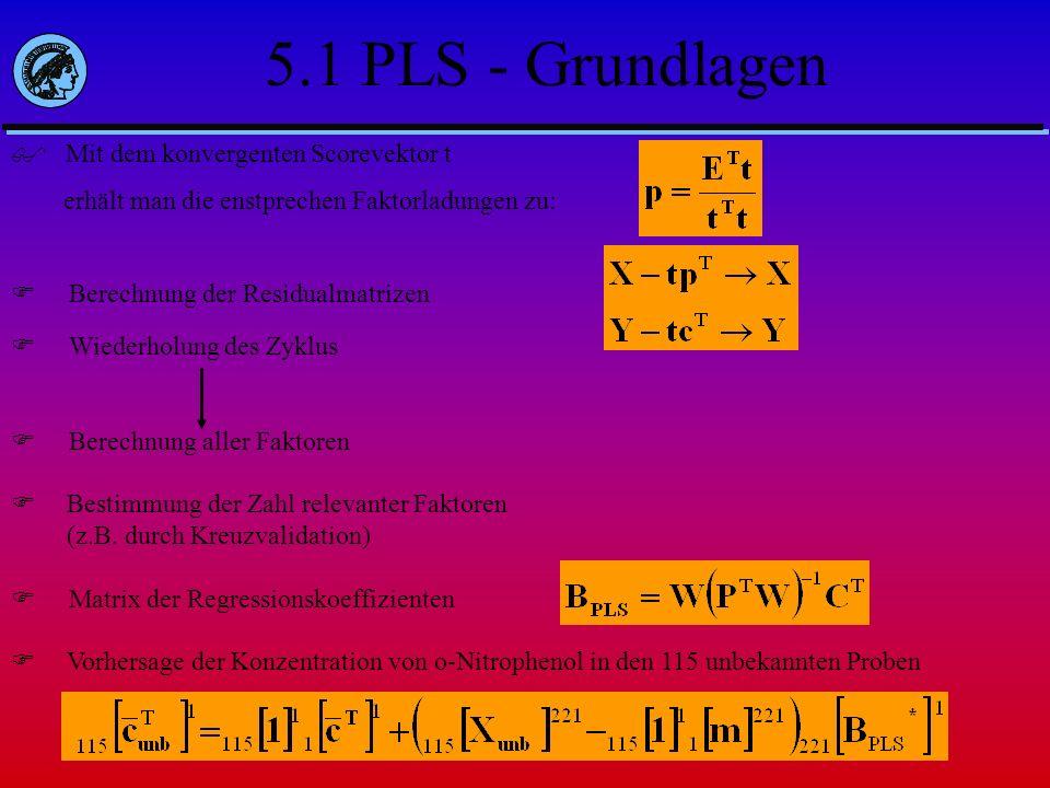 5.1 PLS - Grundlagen Mit dem konvergenten Scorevektor t