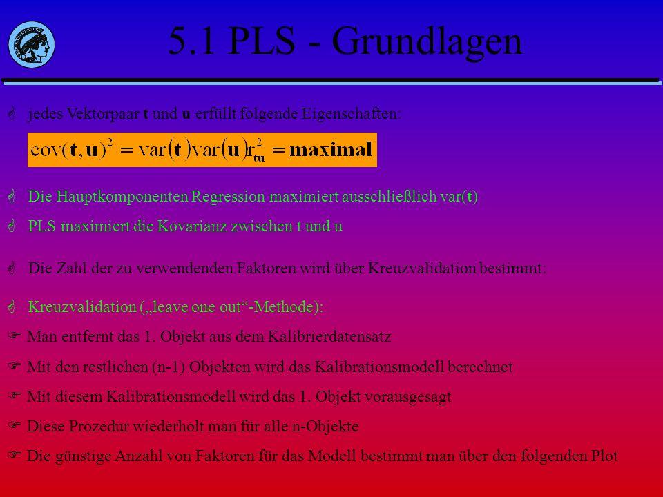 5.1 PLS - Grundlagen jedes Vektorpaar t und u erfüllt folgende Eigenschaften: Die Hauptkomponenten Regression maximiert ausschließlich var(t)