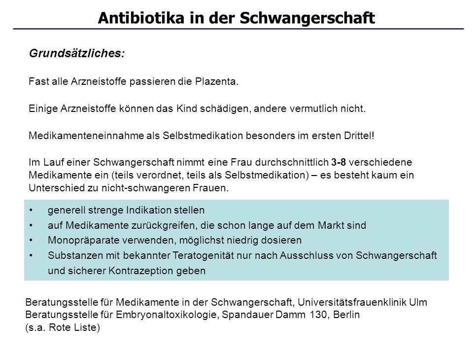 Antibiotika in der Schwangerschaft