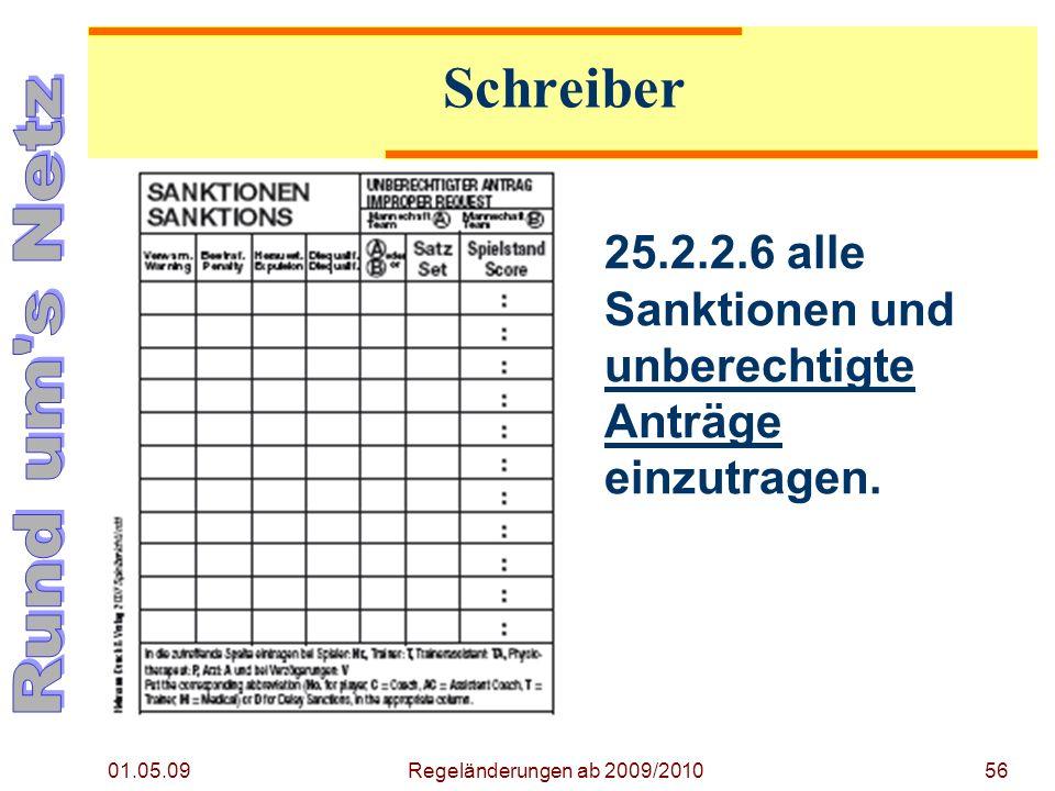 Regeländerung ab 2009/2010 01.05.09. Schreiber. 25.2.2.6 alle Sanktionen und unberechtigte Anträge einzutragen.