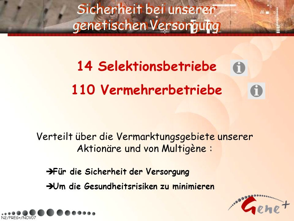 14 Selektionsbetriebe 110 Vermehrerbetriebe