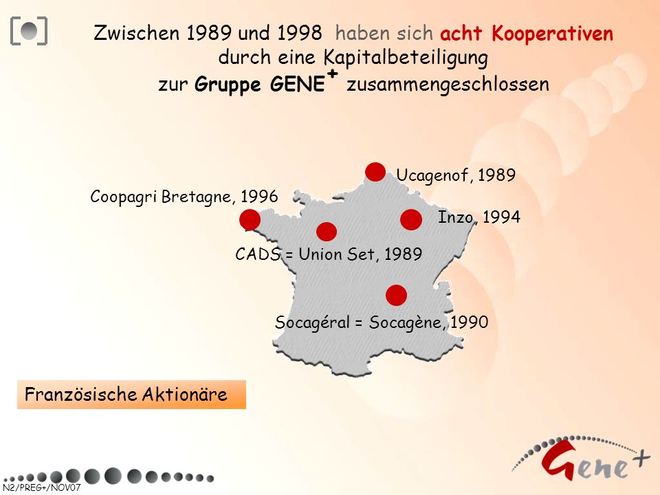 Zwischen 1989 und 1998 haben sich acht Kooperativen durch eine Kapitalbeteiligung zur Gruppe GENE+ zusammengeschlossen