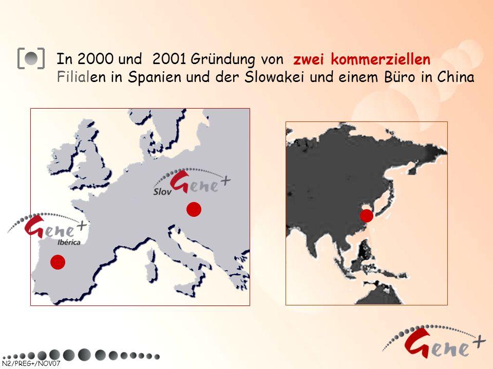 In 2000 und 2001 Gründung von zwei kommerziellen Filialen in Spanien und der Slowakei und einem Büro in China
