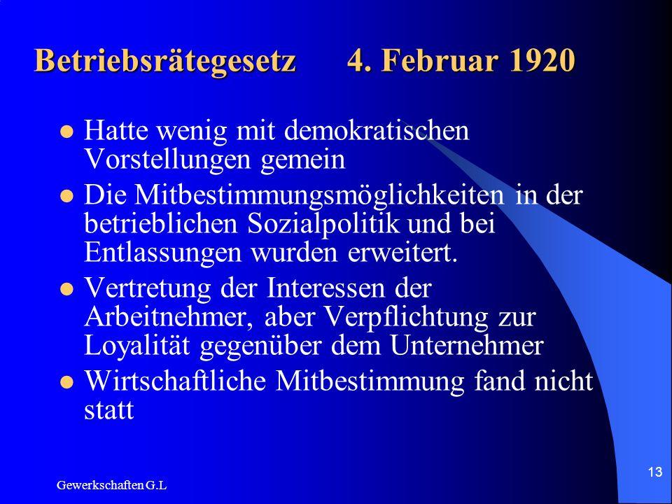 Betriebsrätegesetz 4. Februar 1920