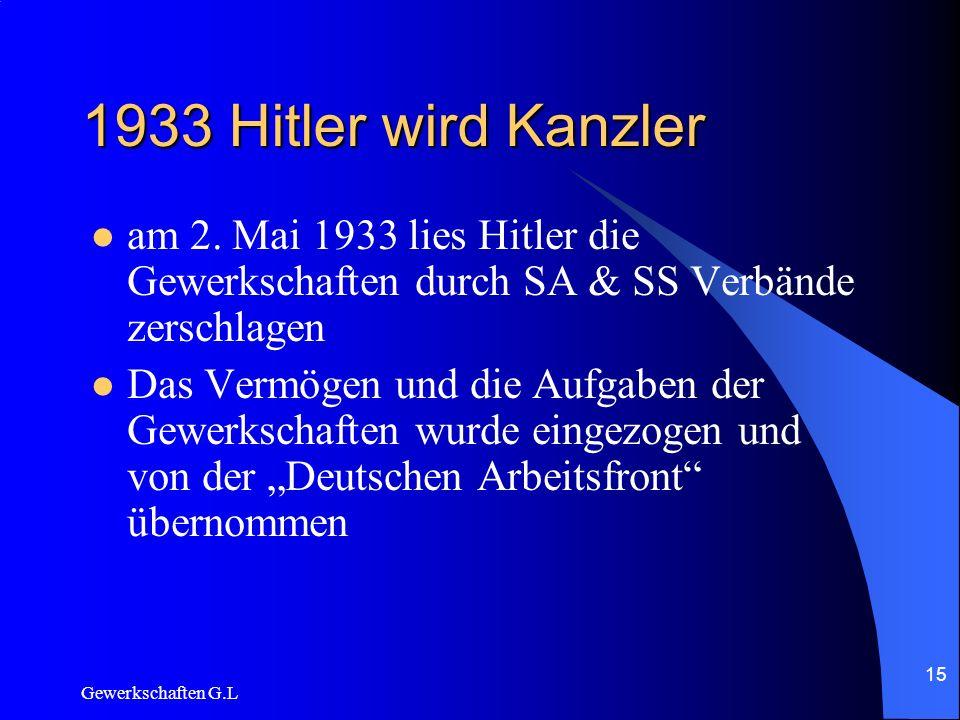 1933 Hitler wird Kanzleram 2. Mai 1933 lies Hitler die Gewerkschaften durch SA & SS Verbände zerschlagen.